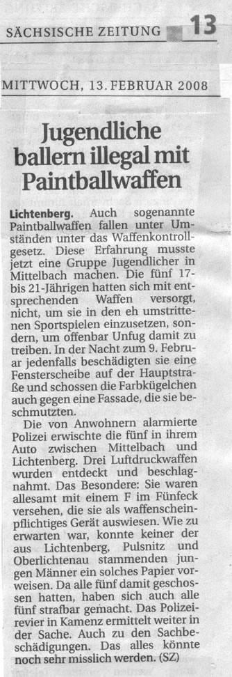 Sächsische Zeitung Lokalausgabe Kamenz v. 13.02.08: Paintballwaffenmissmbrauch
