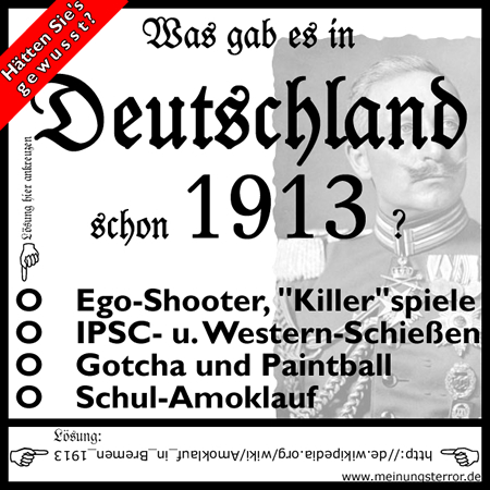 Quiz: Was gabs in Deutschland auch schon 1913? - Klicken für pdf-Version