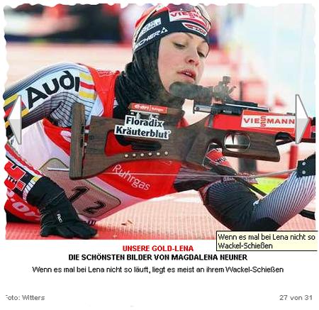 Magdalene Neuner - Screenshot Fotostrecke auf www.bild.de