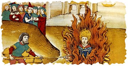 Jan Hus auf dem Scheiterhaufen