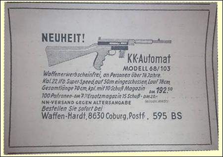 Anzeige Fa. Waffen-Hardt über Landmann-Preetz KK-Selbstladebüchse im MP-Look